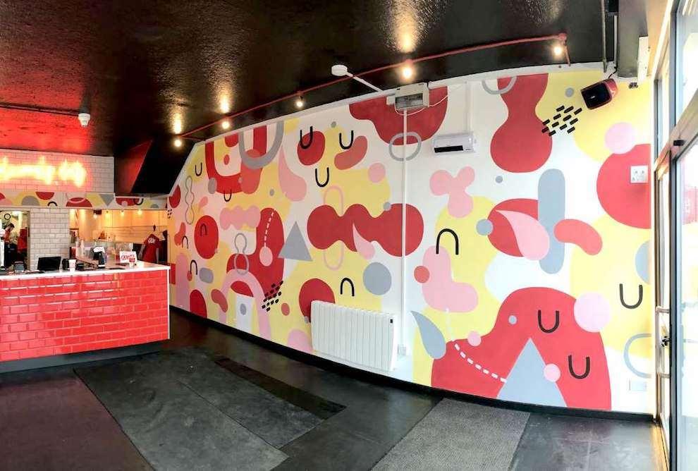 Anna Higgie, Handpainted geometric pattern mural