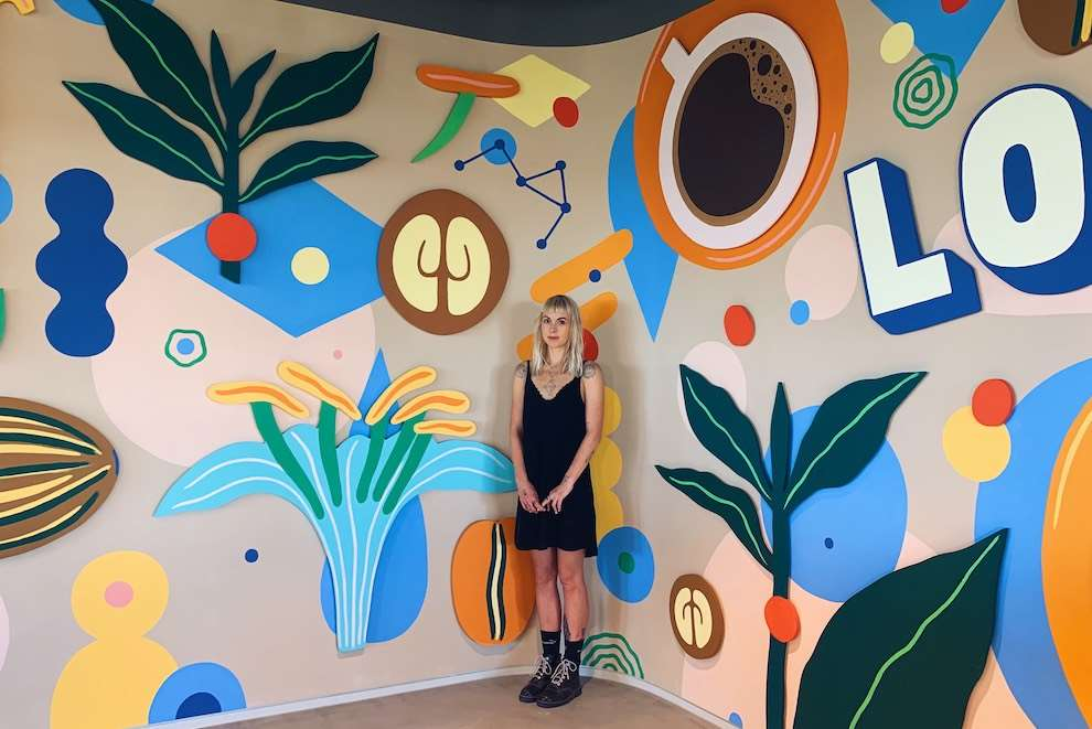 Anna Higgie, Abstract colourful mural for Starbucks office