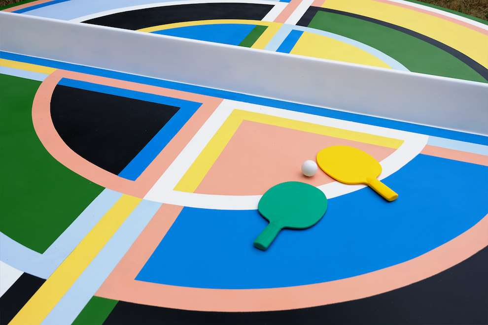 Kitra, Bold and colourful geometric shapes hand painted ping pong table