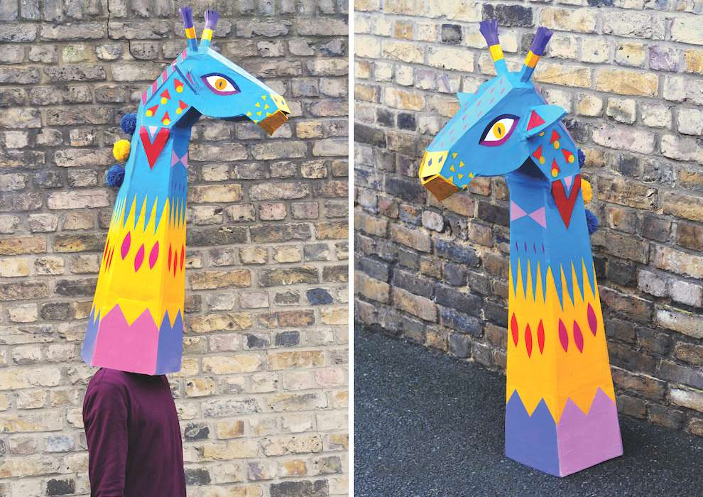 Margaux Carpentier, handpainted mask of a giraffe
