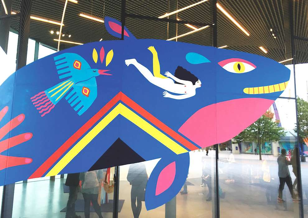 Margaux Carpentier, Flat Sculpture of whale handpainted in bright and vibrant colours