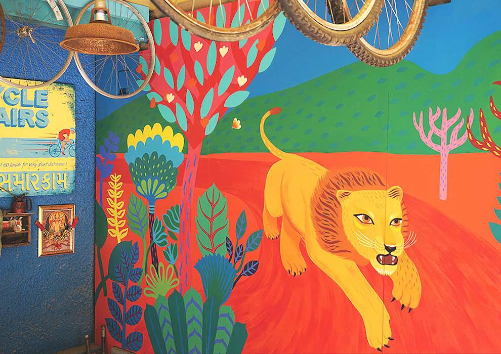 Margaux Carpentier, Handpainted mural of the savana for the london zoo