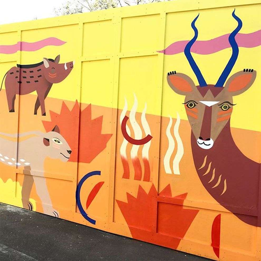 Margaux Carpentier, Hand-painted mural of wildlife scenery for London Zoo