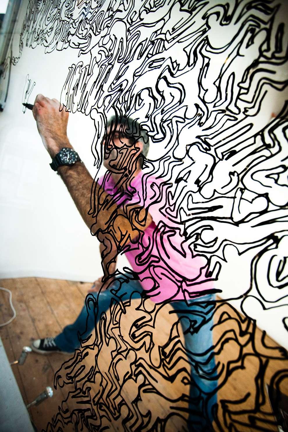 Simon Spilsbury, Line art illustration, live drawing event