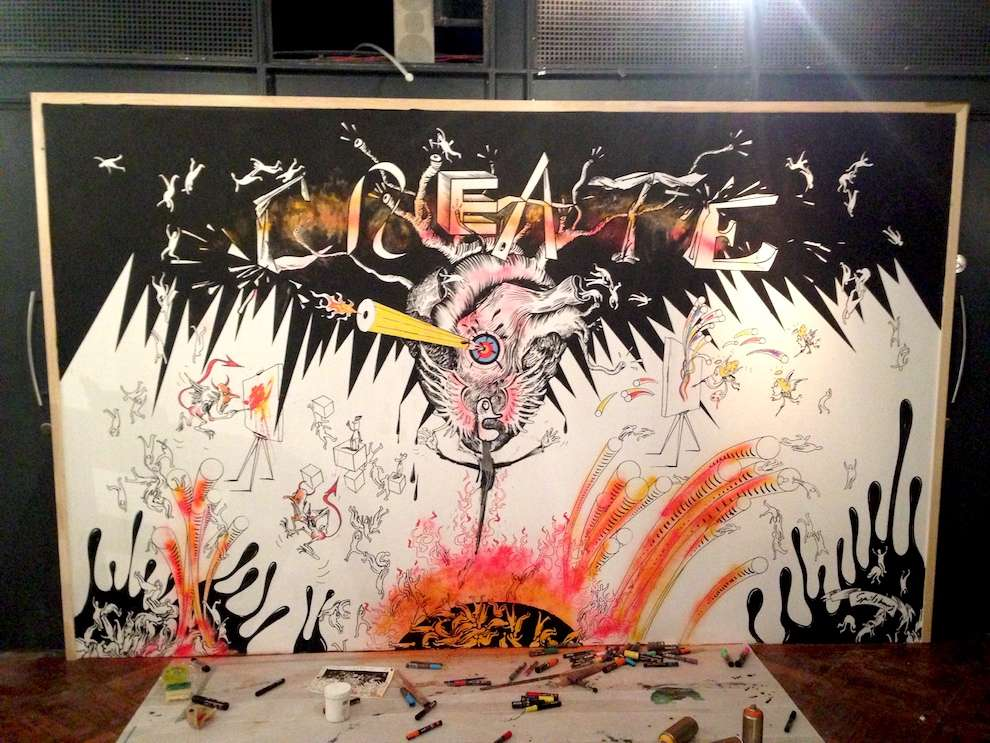 Simon Spilsbury, Hand drawn mural