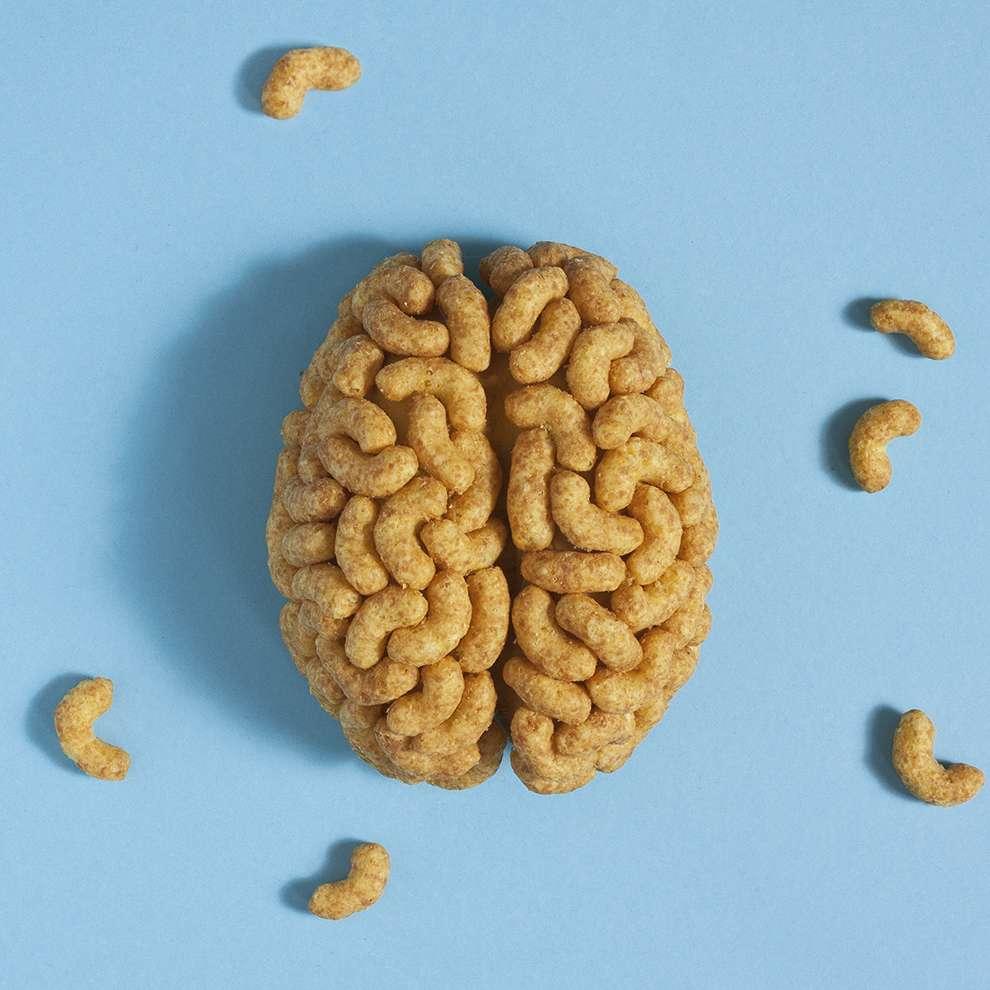 WRK, Set design illustration of a brain made of appetisers on blue background