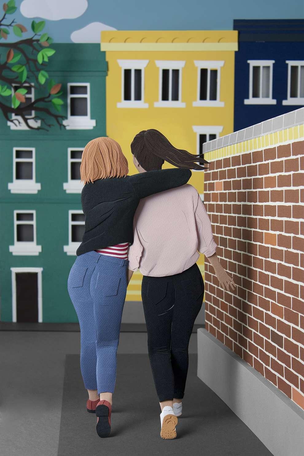 WRK, Paper illustration of two women walking in a street