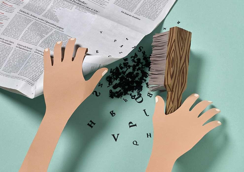 WRK, Set design illustration made of paper sculpture