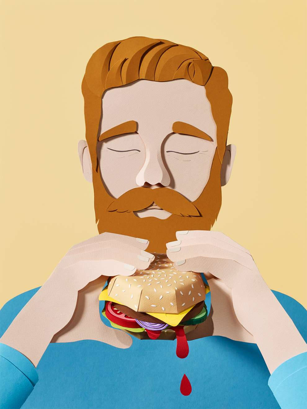 WRK, Paper illustration of a man eating a burger
