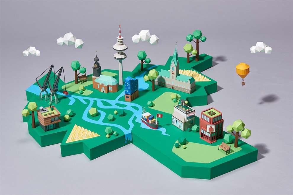 WRK, Set design illustration made of paper sculpture of a city