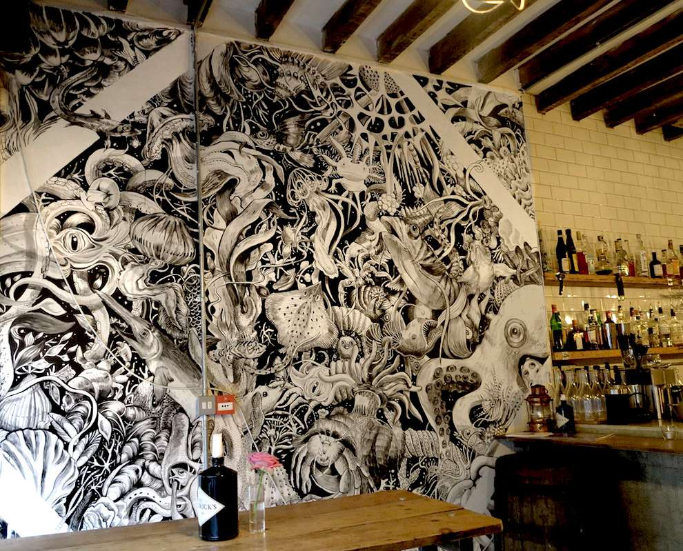 Good Wives & Warriors, Hand painted pub mural of a sea scene with sea creatures and fishes