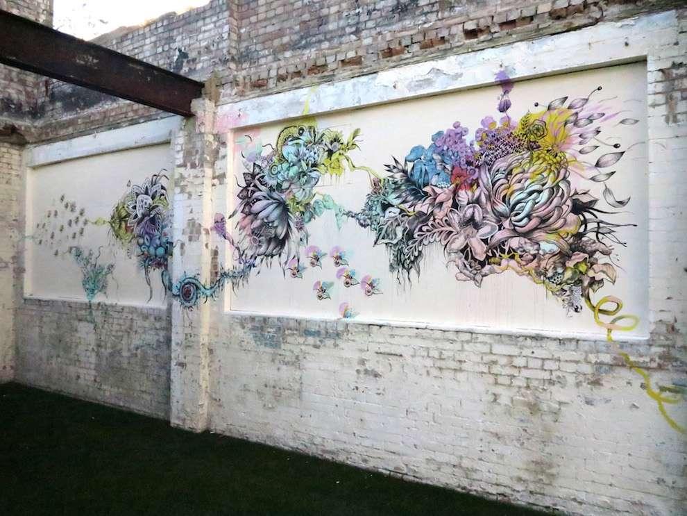 Good Wives & Warriors, Colourful hand drawn mural at the Barbican
