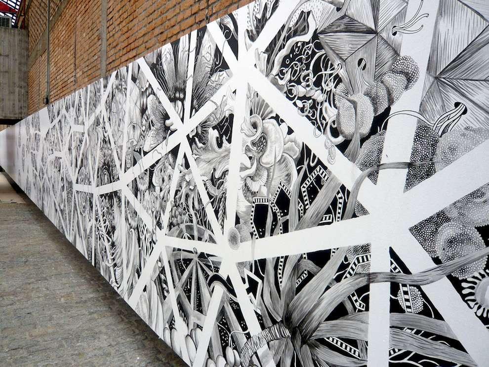 Good Wives & Warriors, Black and white hand drawn botanical mural