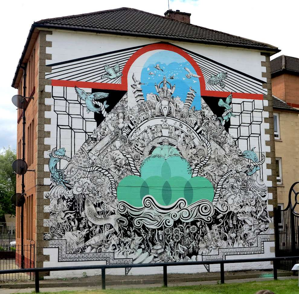 Good Wives & Warriors, Detailed and decorative mural of a city under the sea