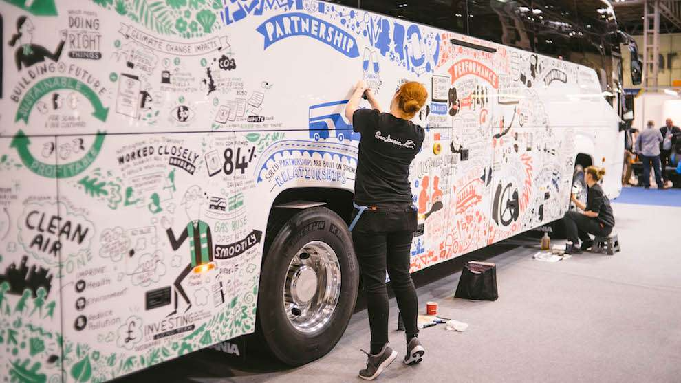 Scriberia, Live event drawing on bus