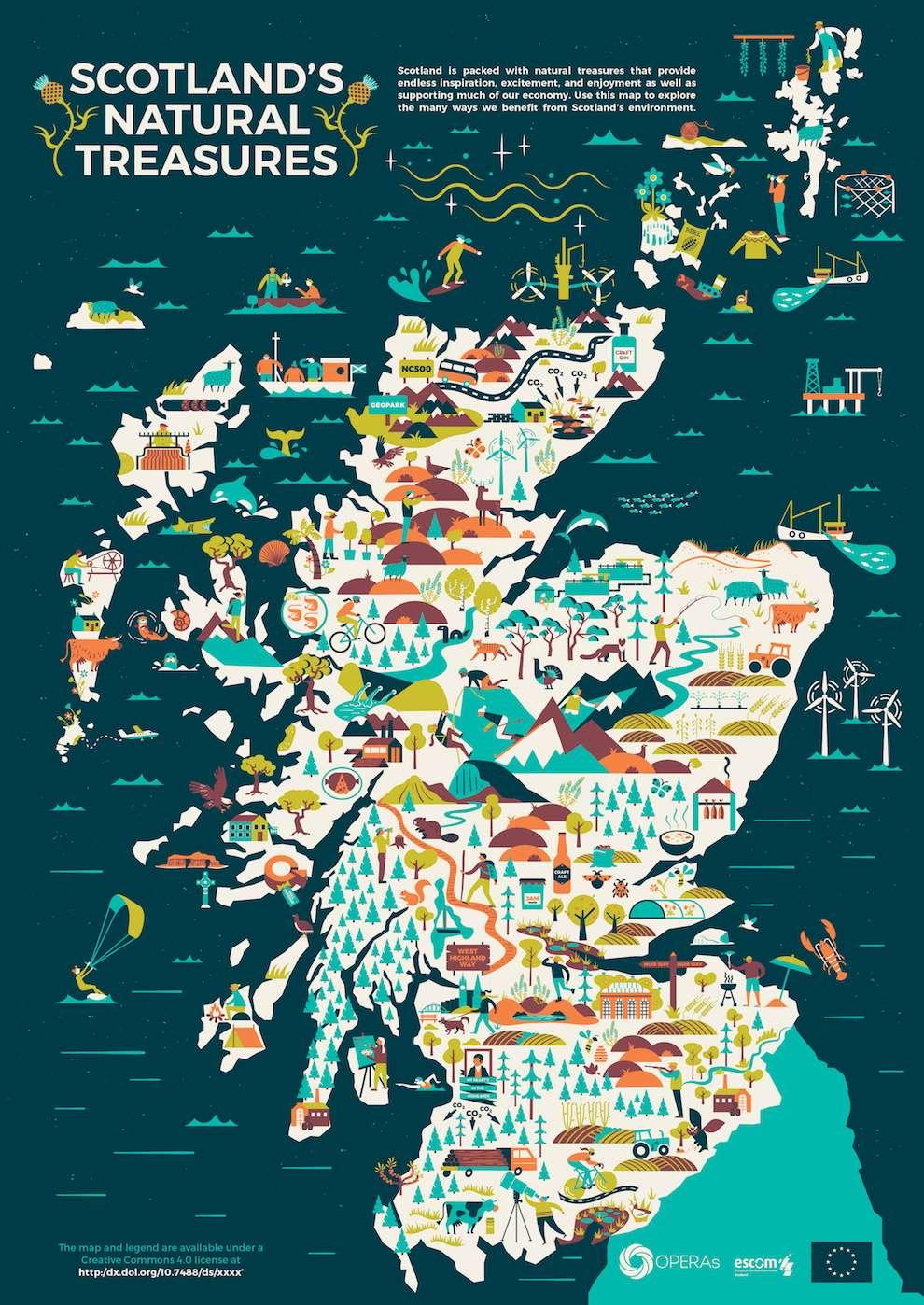 Scriberia, infographic map